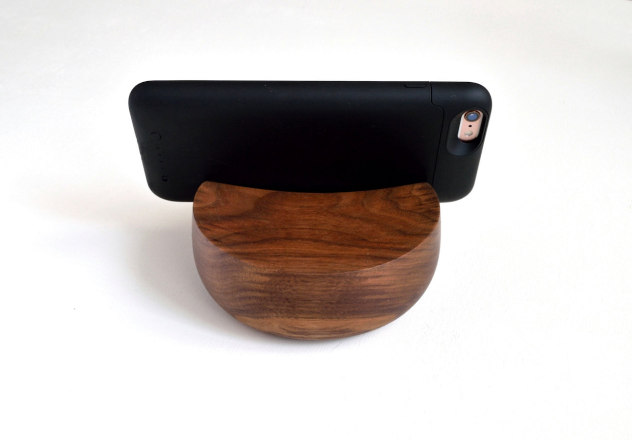 Natural Walnut Hand Turned Phone Stand