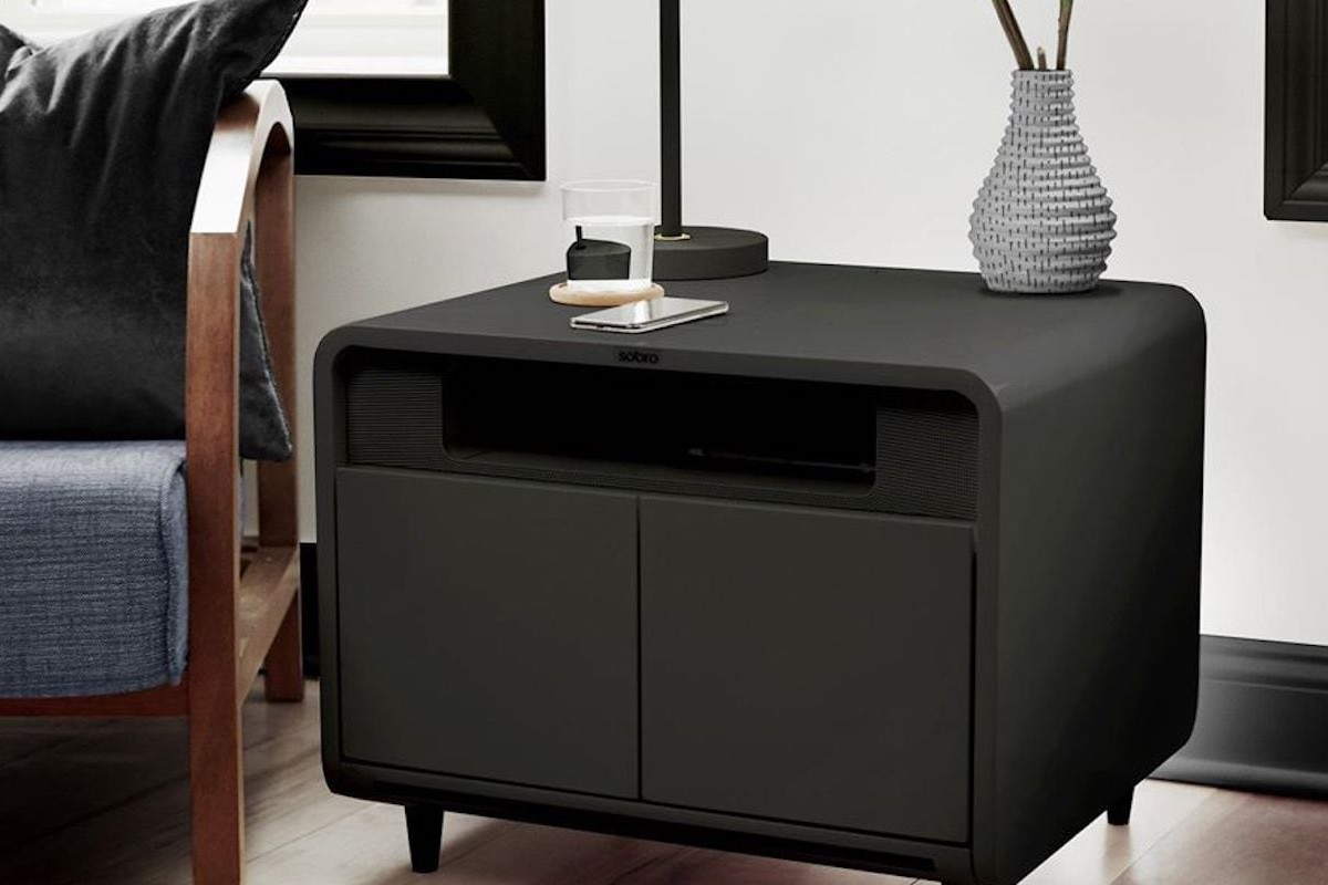 Sobro Smart Side Table has a built-in cooler for snacks and drinks