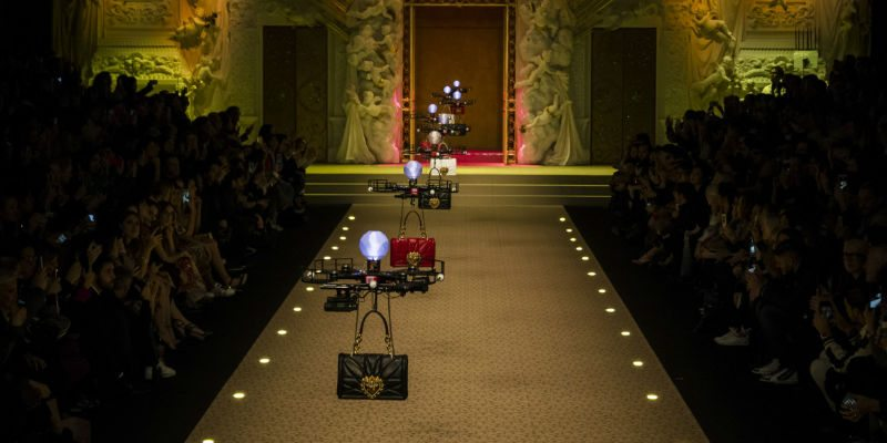 Drone carrying handbags by Dolce & Gabbana on the ramp