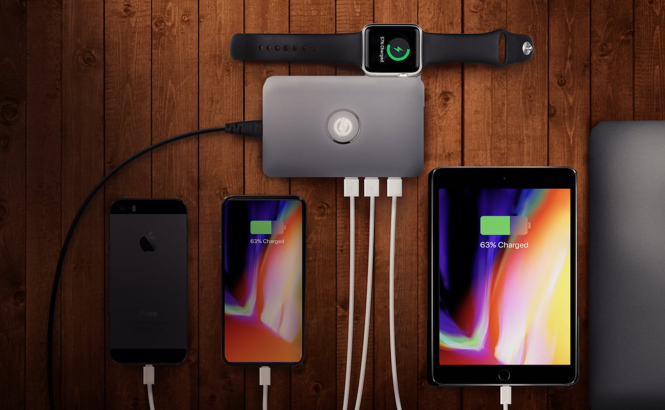 iMate Smart Multi-Port Apple Charger acts as an all-in-one docking station