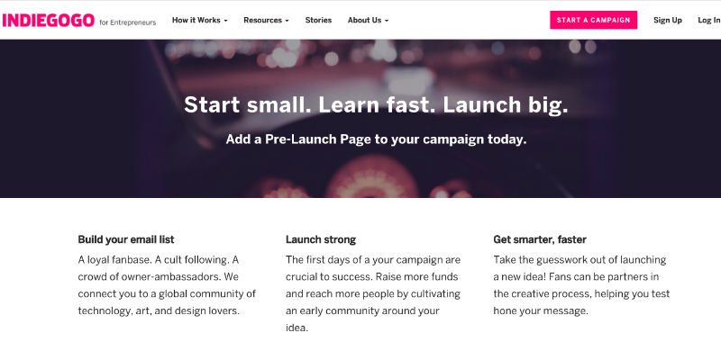 Pre-launch page service on Indiegogo