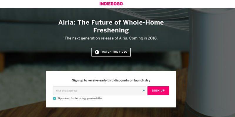 AIRIA pre-launch Indiegogo campaign