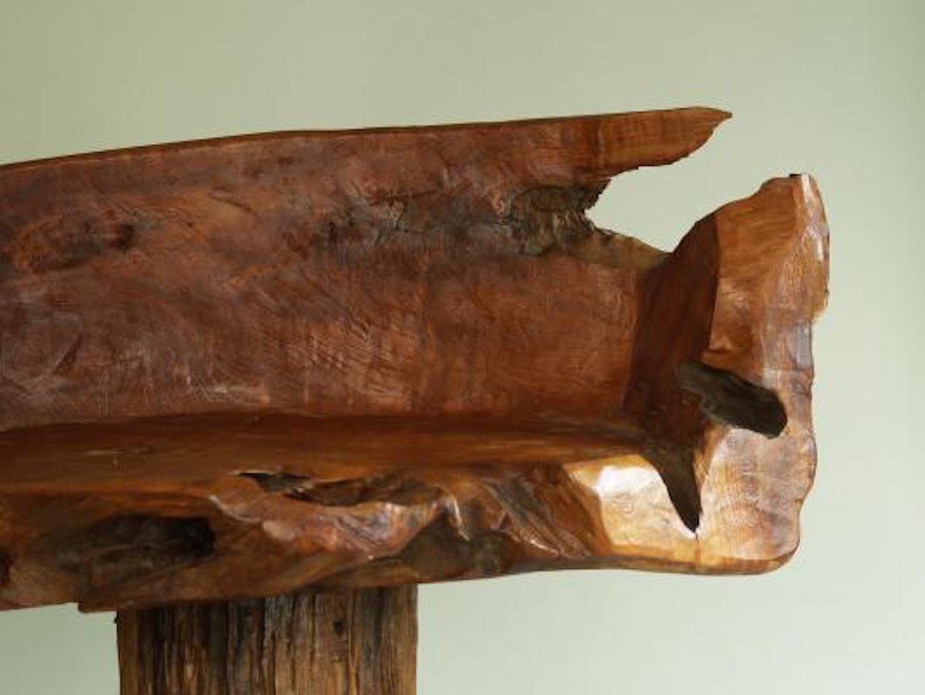 French Primitivist Vintage Natural Wood Chair