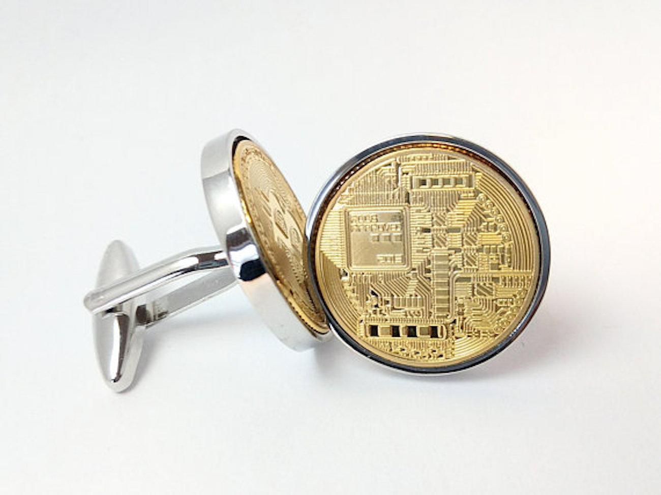 World Coin Cufflinks Gold Plated Bitcoin Cufflinks