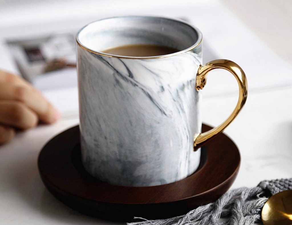 Ly+Land+Bone+China+Marble+Mug+Set
