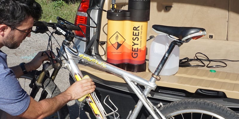 The Geyser portable shower will help you stay fresh on the road