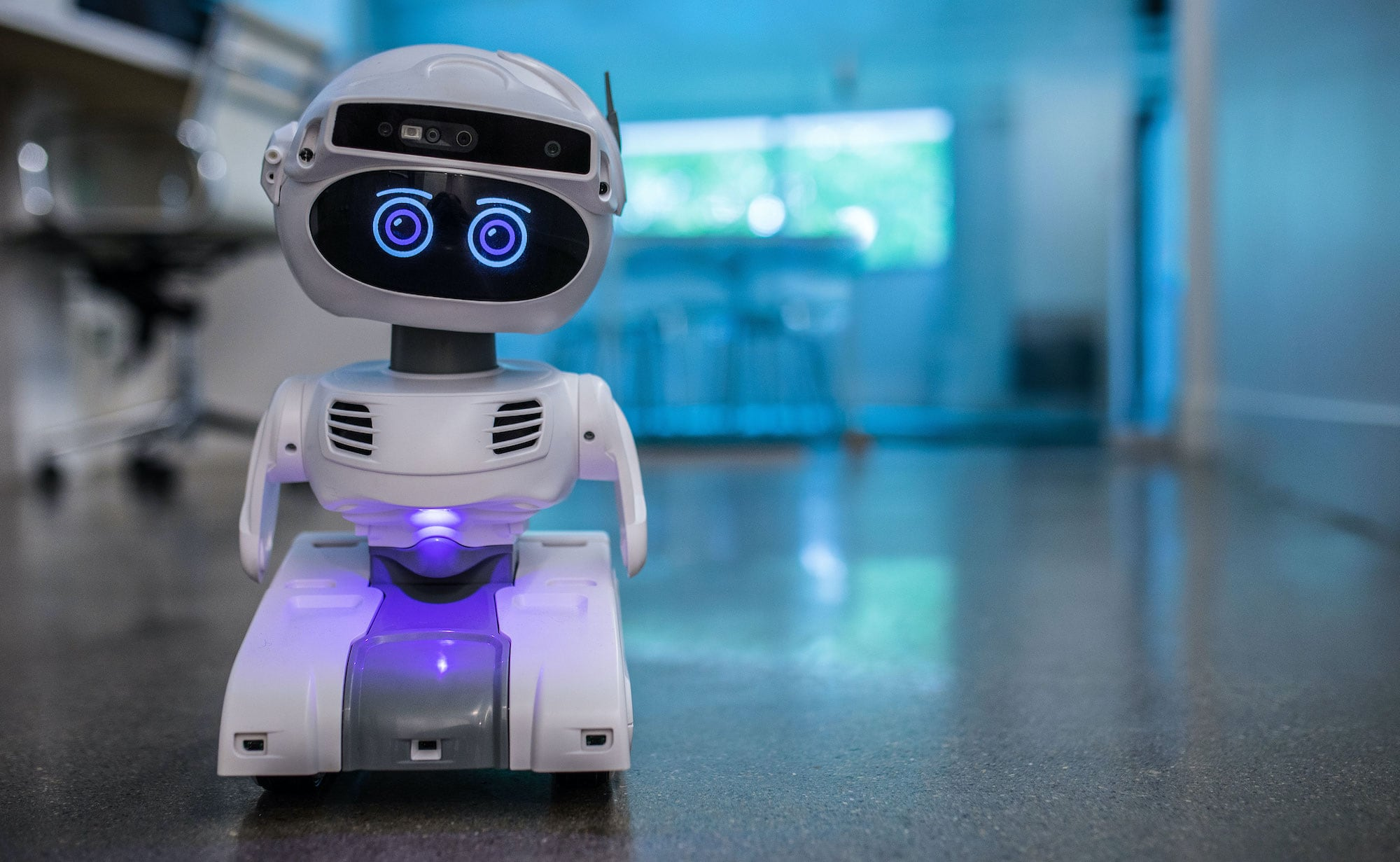 The personal robot platform is a small, cute robot looking at the camera.
