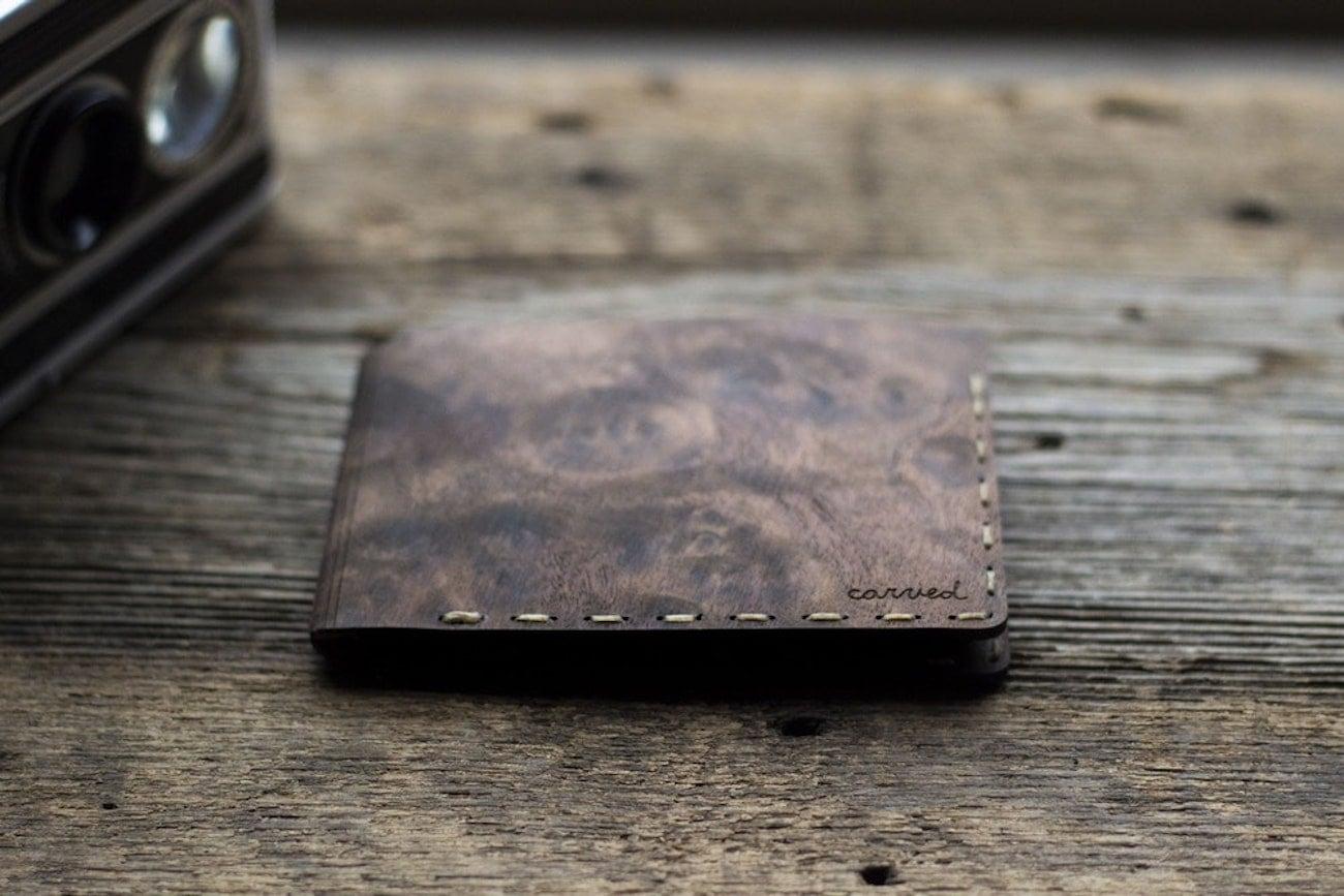 Carved Arbor Flexible Bifold Wood Wallet