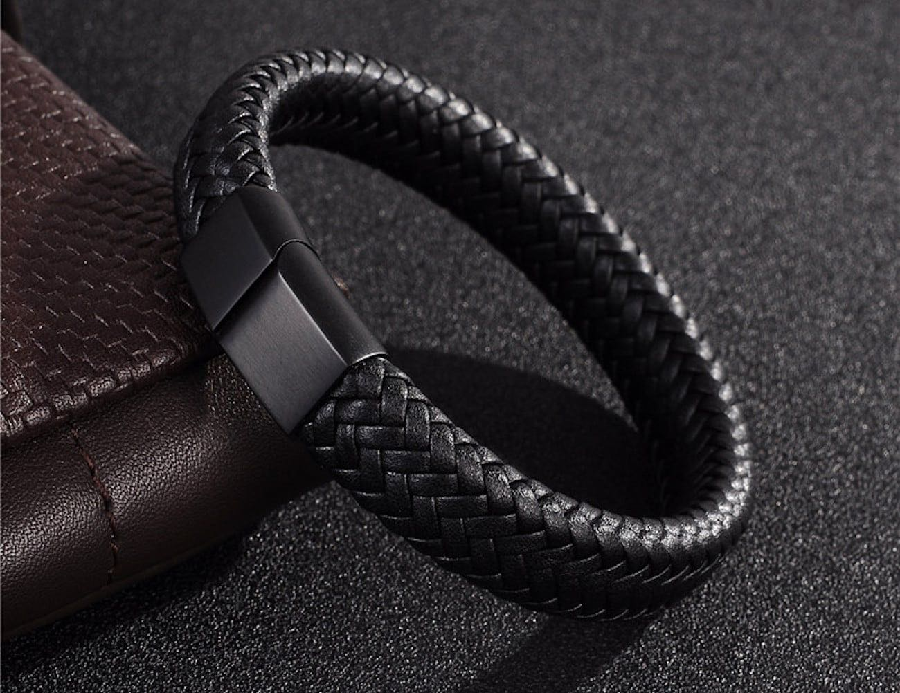 Leather Braided Bracelet with Stainless Steel Clasp