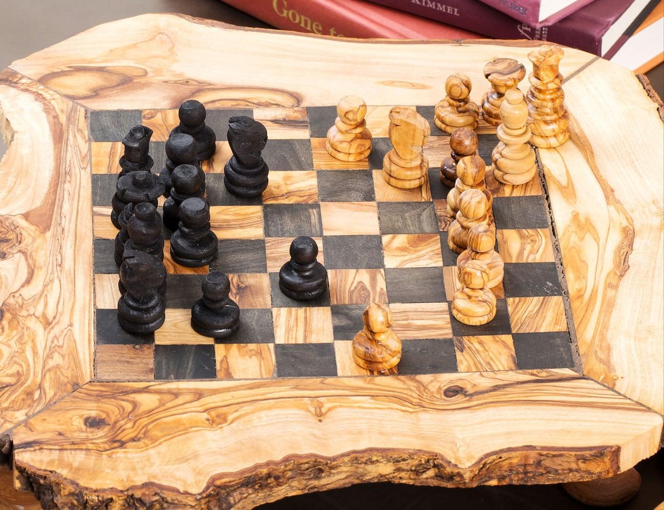 ZitounaWood Handmade Olive Wood Chess Set