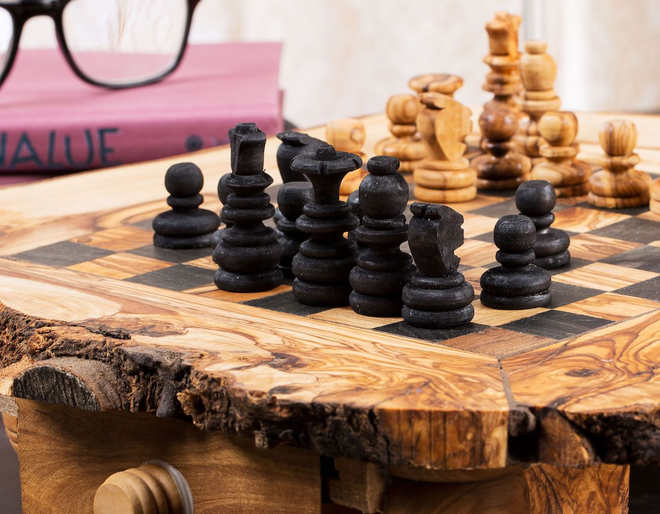 ZitounaWood Handmade Olive Wood Chess Set
