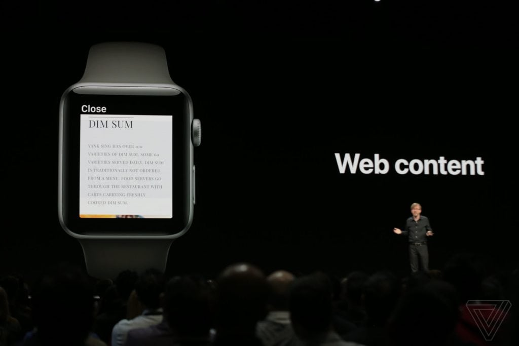 webKit on Apple watchOS 05/ Image Credits: The Verge