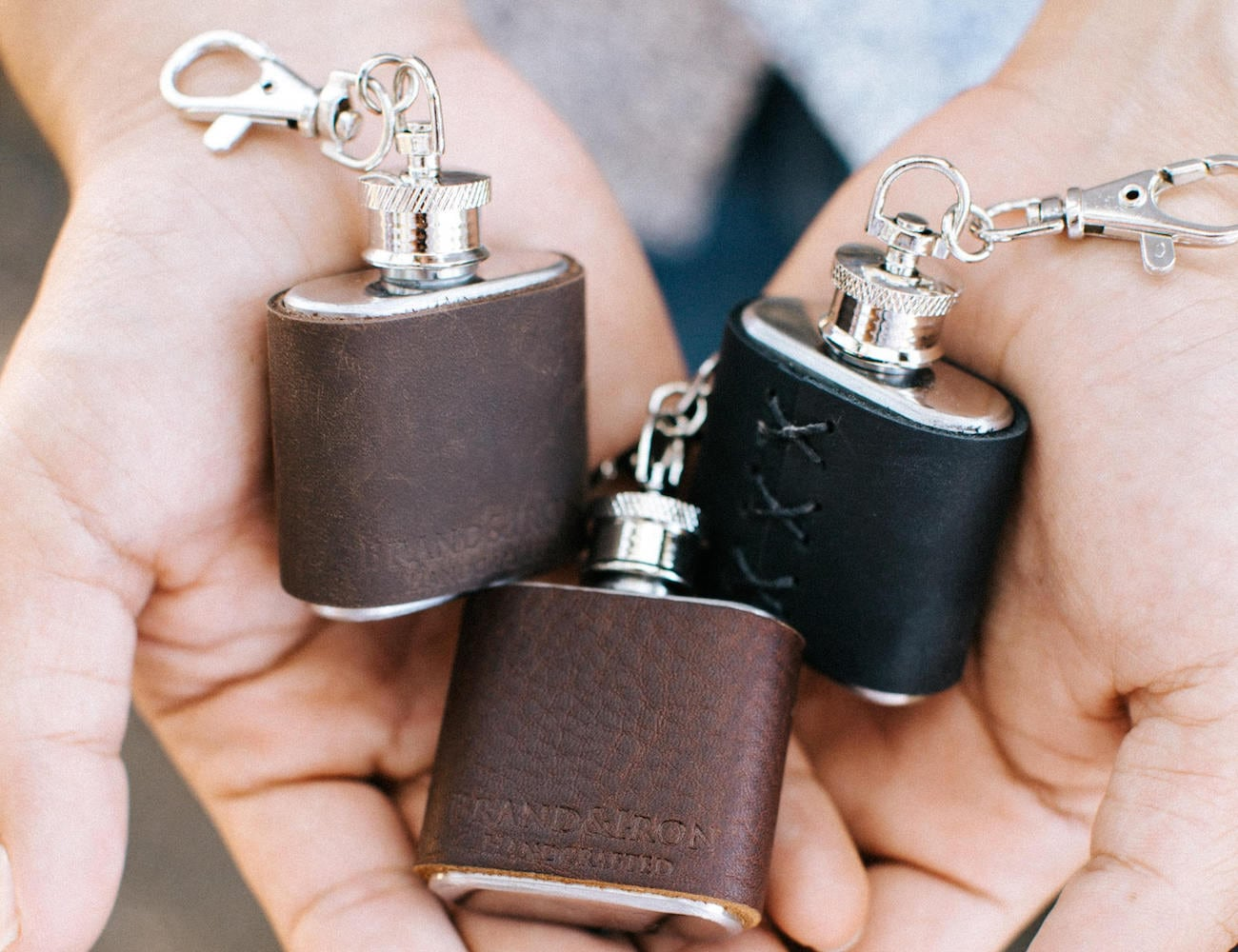 BrandIron Leather Keychain Flask