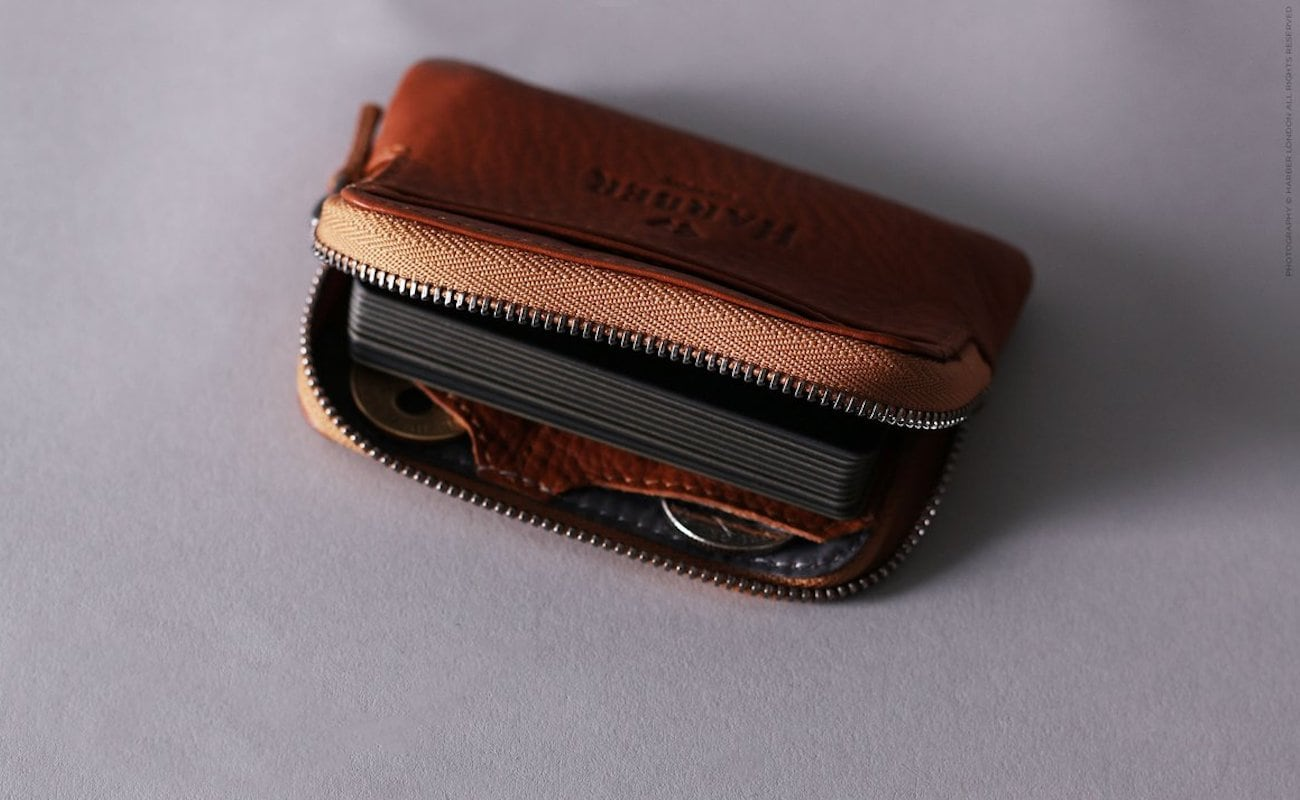 Harber London Leather Zip Pouch Wallet