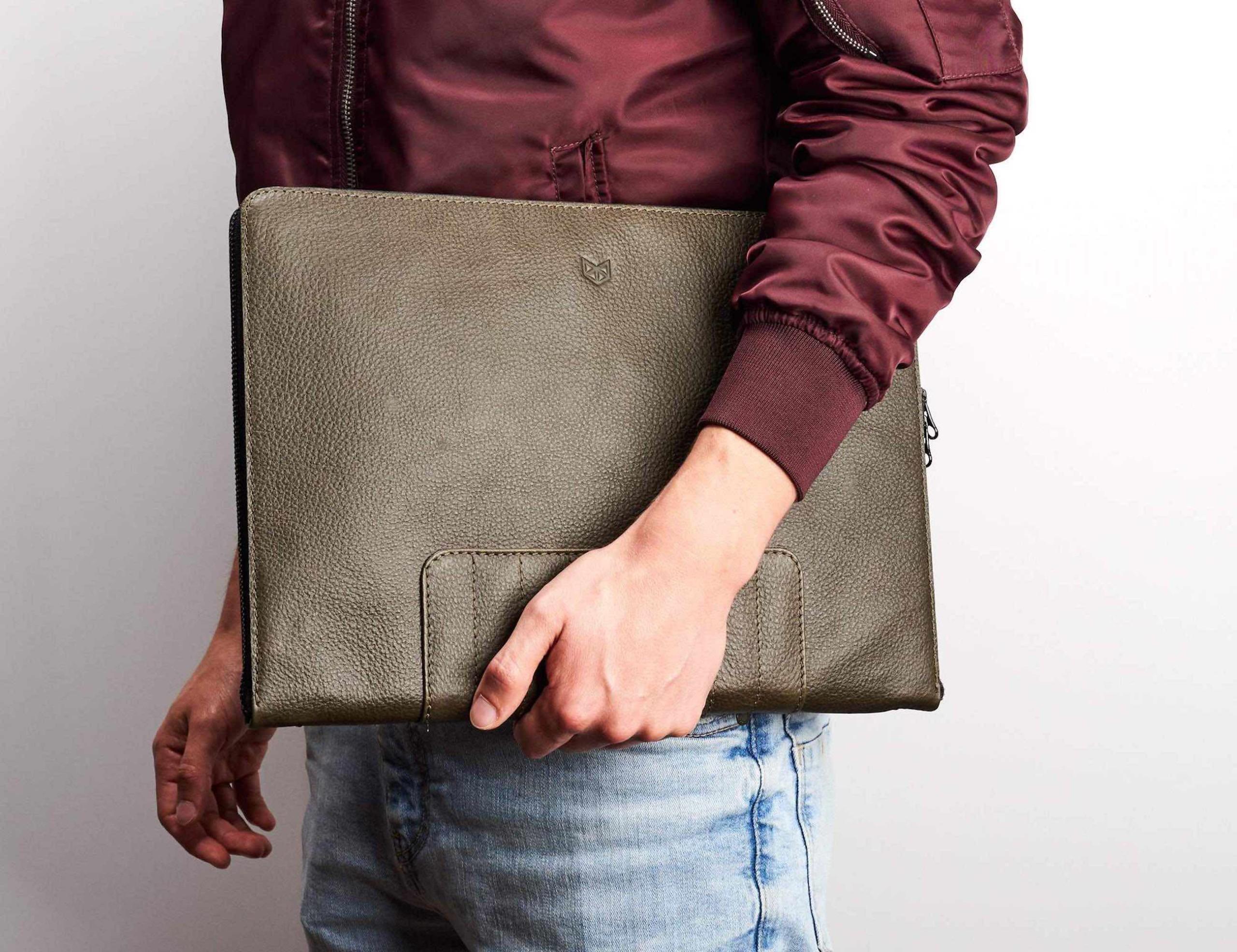 Capra Leather Biker Laptop Portfolio
