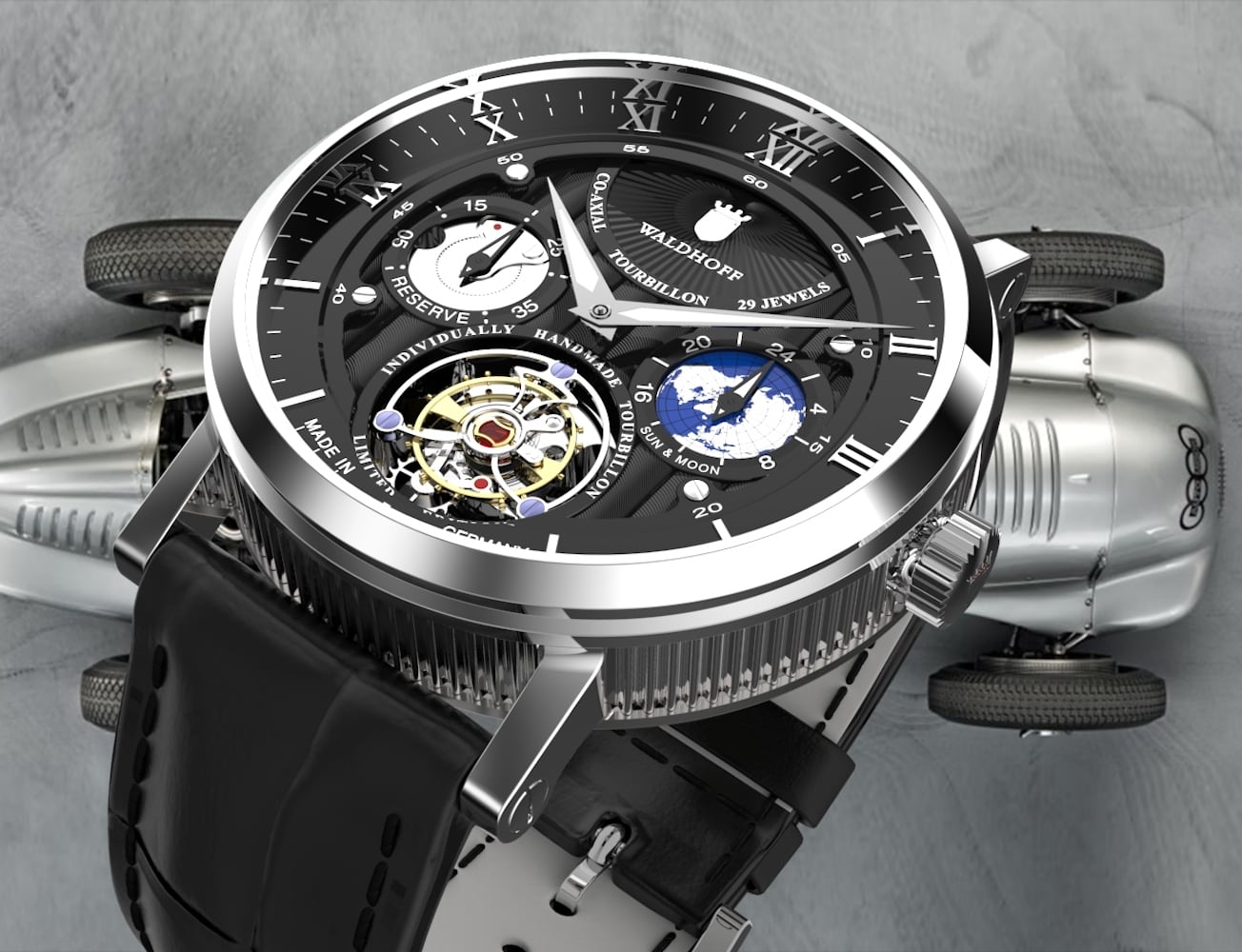 Waldhoff Co-Axial Tourbillon Movement Watches