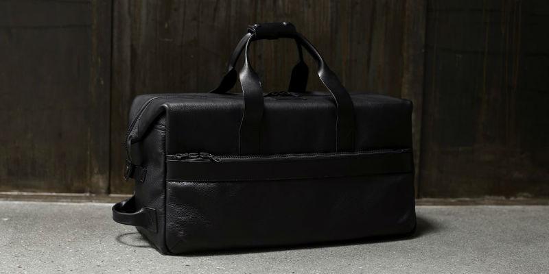 Utility Black Leather Weekender