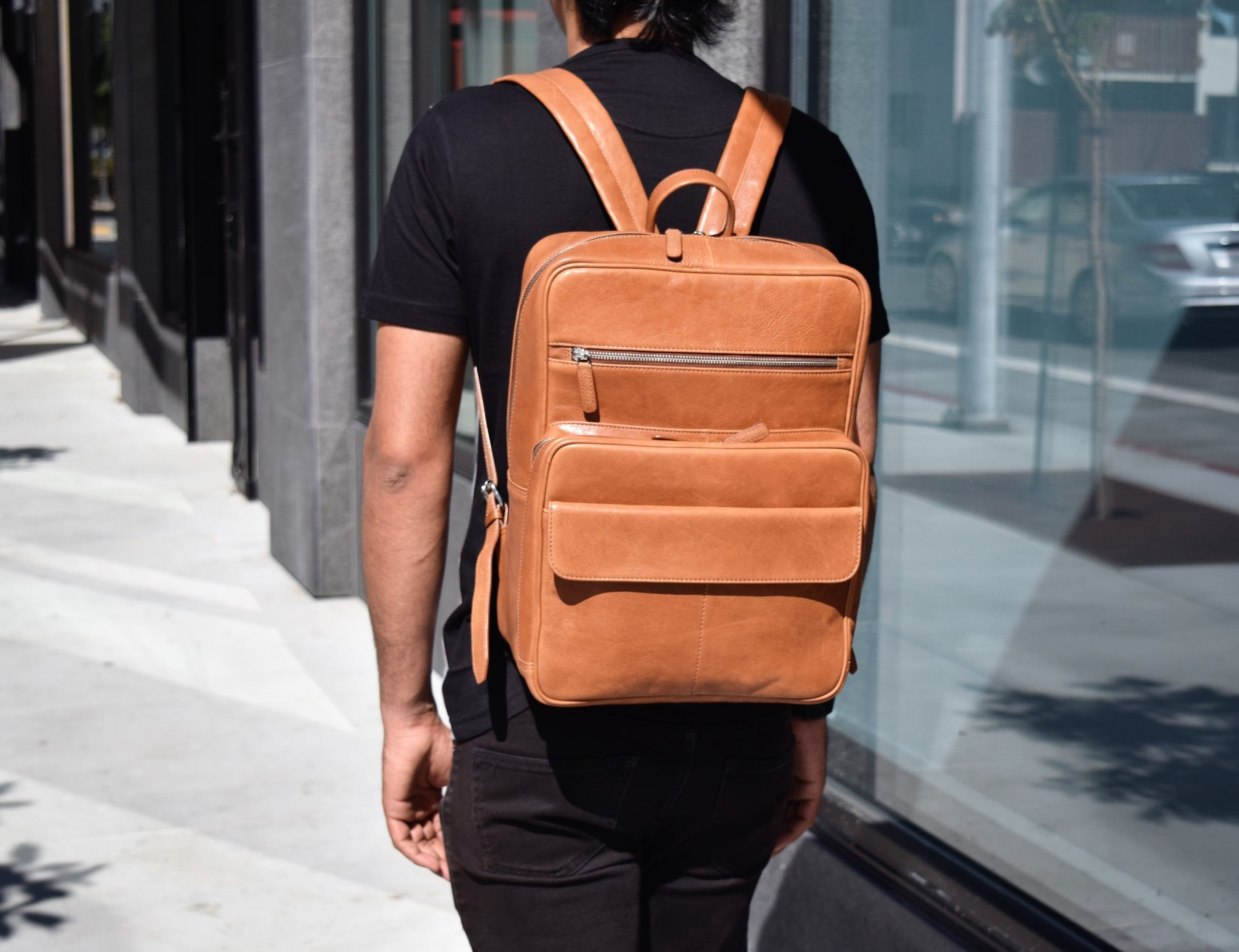 ERA81 Unisex Leather Laptop Backpack