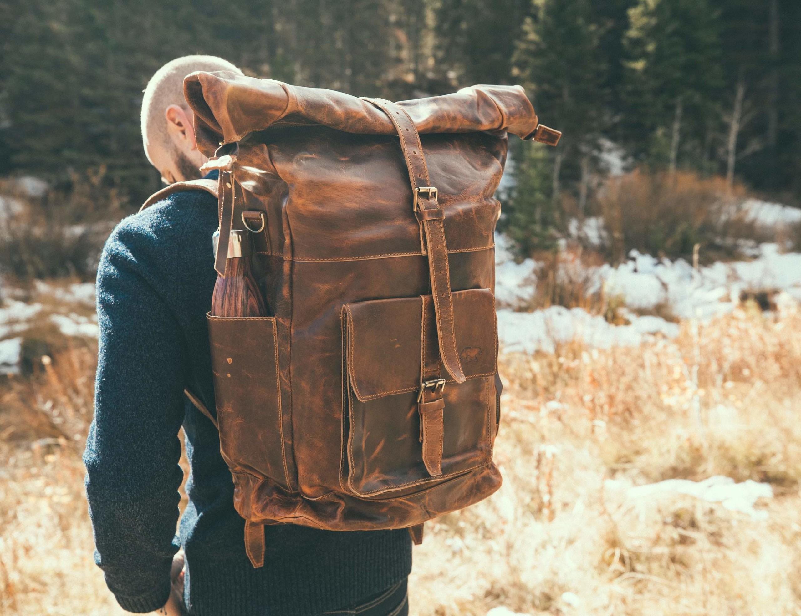 Kobuk Roll-Top Leather Backpack