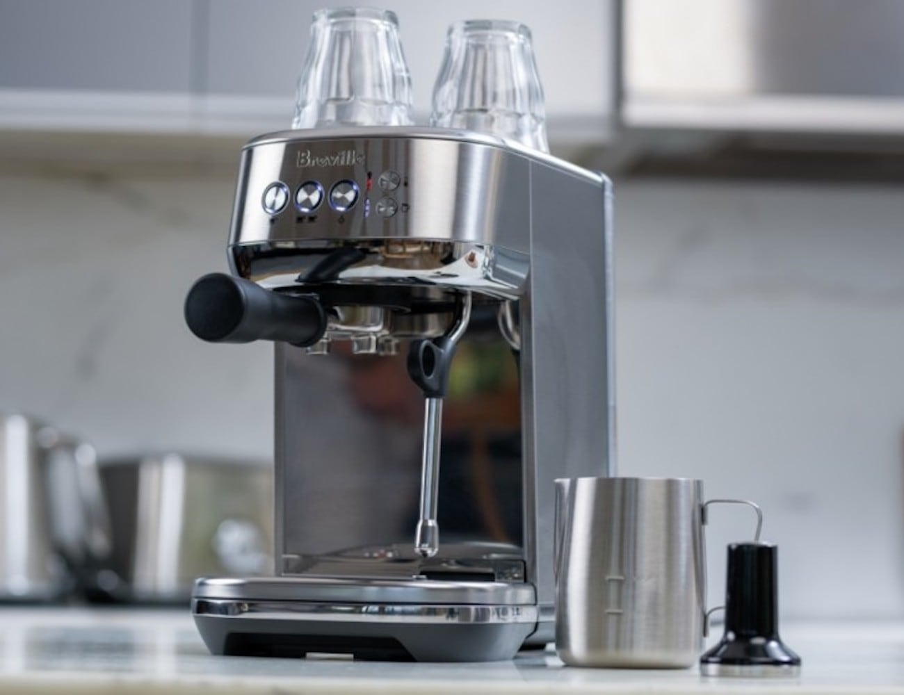 Breville Bambino Plus Compact Espresso Machine serves barista-level coffee