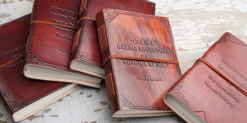 Embossed Handmade Leather Journals - 9 beautiful leather goods for every occasion