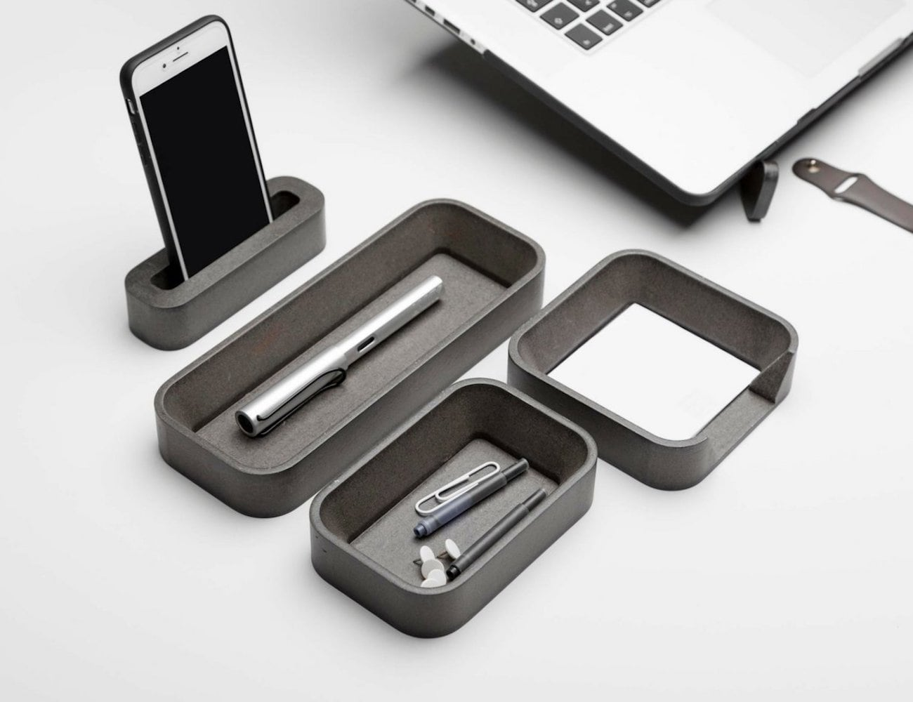 luliaShopCom Grey Desk Organizer Set