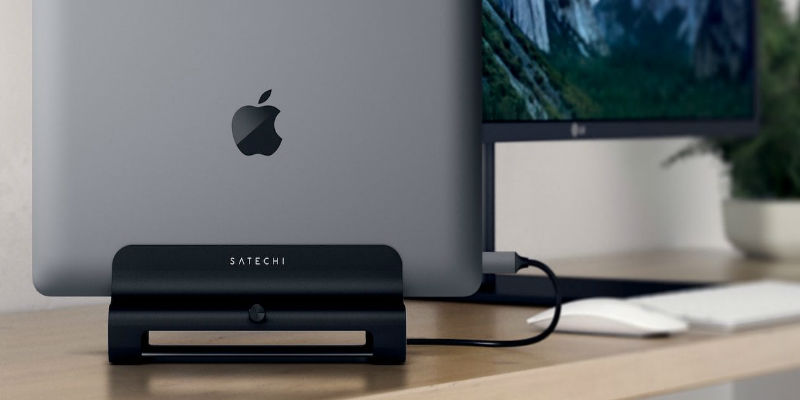 Satechi Vertical Aluminum Laptop Stand - 13 Awesome accessories for your MacBook, MacBook Pro, and MacBook Air