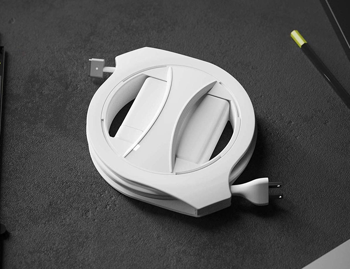 Fuse Side Winder MacBook Cable Holder organizes your laptop cable