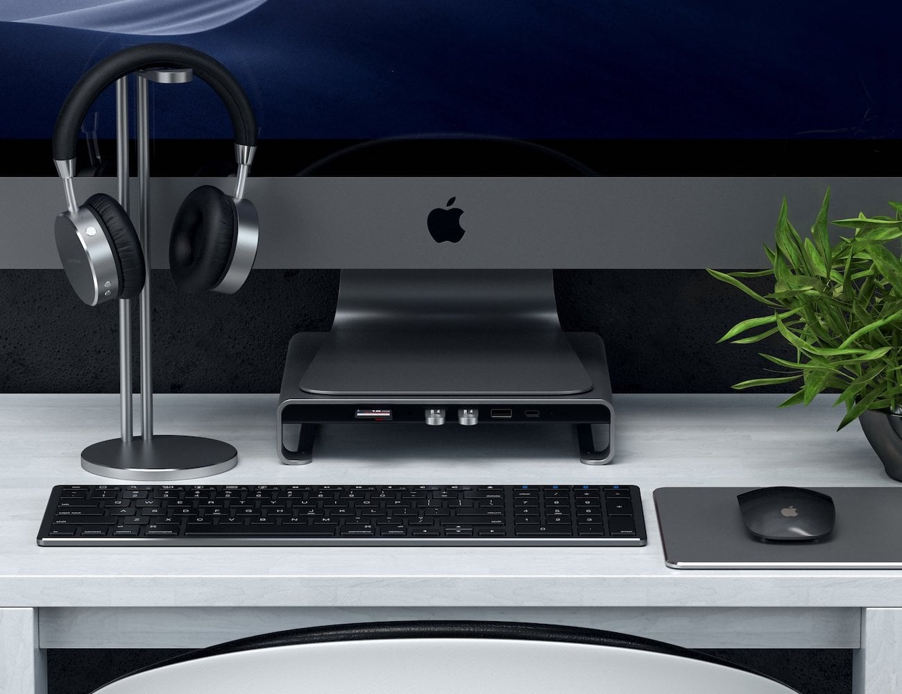 Satechi Type-C Aluminum iMac Monitor Stand Hub gives you total access