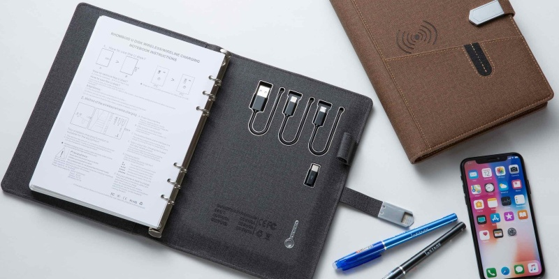 High Tech Wireless Charging Binder - Smart stationery that will make you want to work
