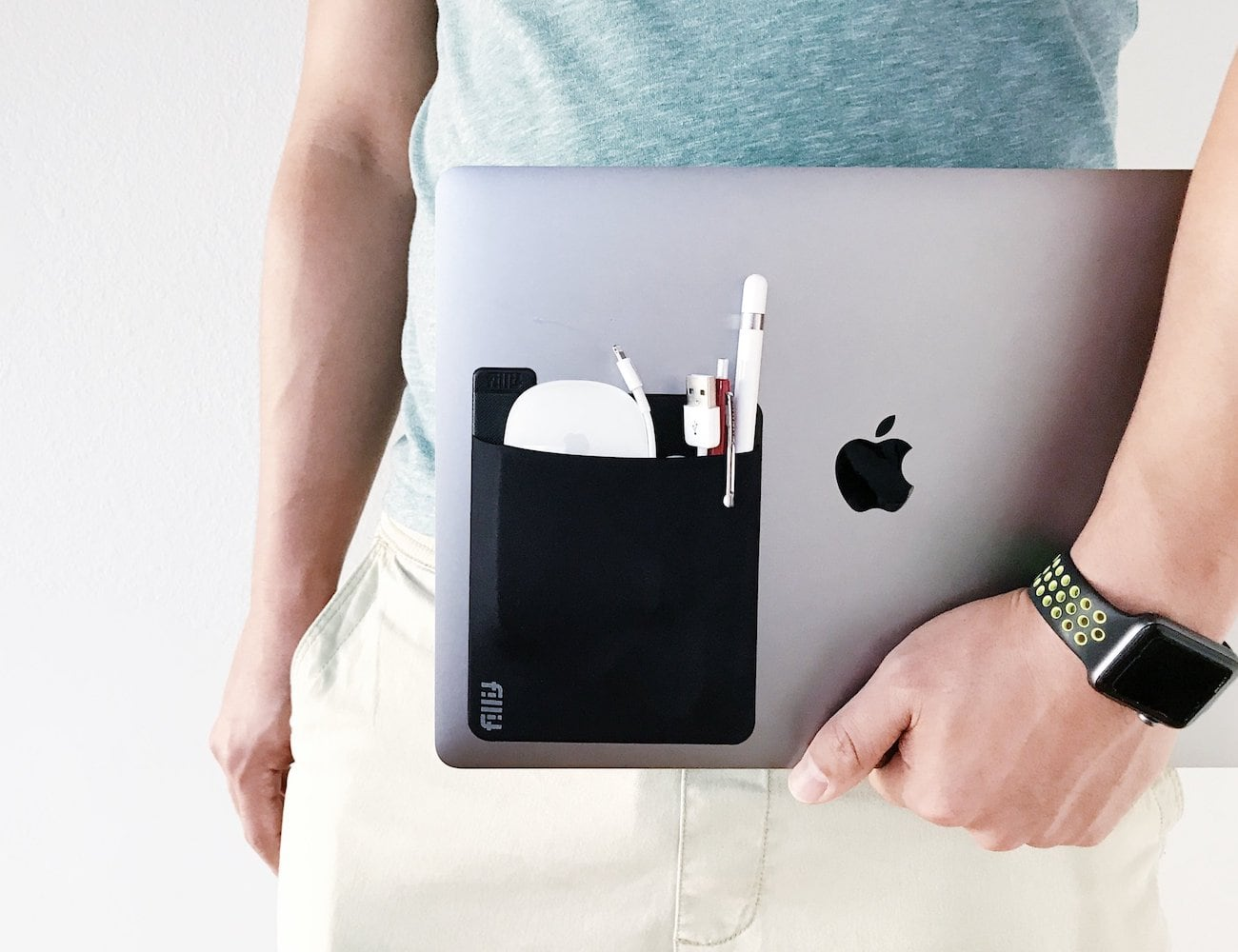 Fillit Pocket Reusable Adhesive Pocket Storage helps you carry extra items with your computer
