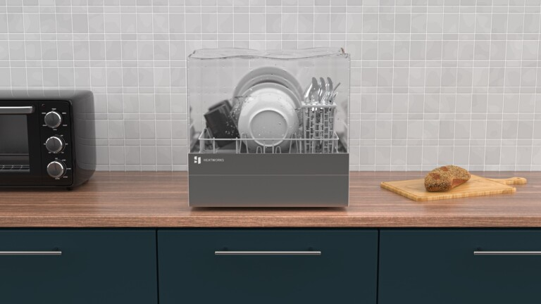 Heatworks Tetra connected countertop dishwasher has a 3-liter tank you fill manually
