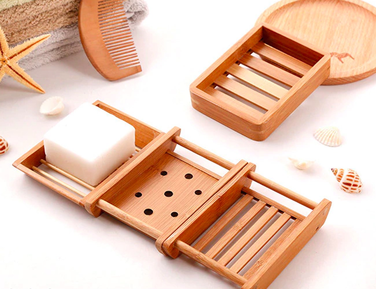 Minimalist Bamboo Self-Draining Soap Dishes get rid of excess water