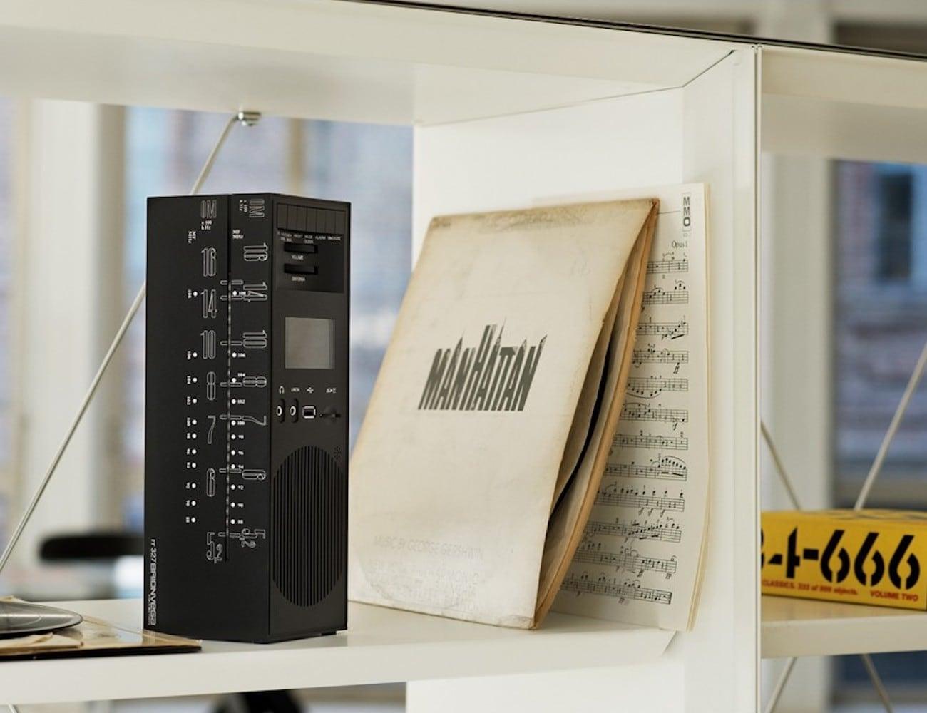 Brionvega Grattacielo Portable Radio Speaker looks like a small skyscraper