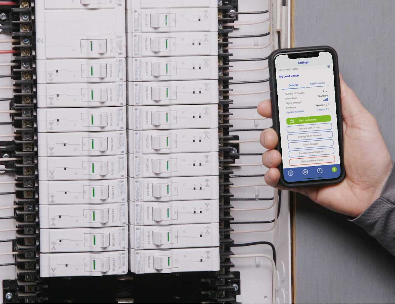 Leviton Load Center Smart Circuit Breaker monitors your electricity