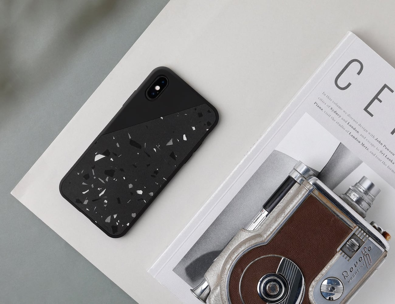 Native Union Clic Terrazzo Hand-Crafted iPhone Case protects your device