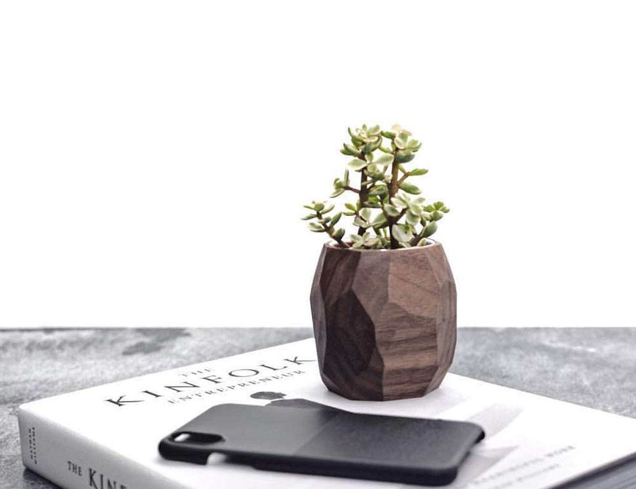 Oakywood Wooden Geometric Planter
