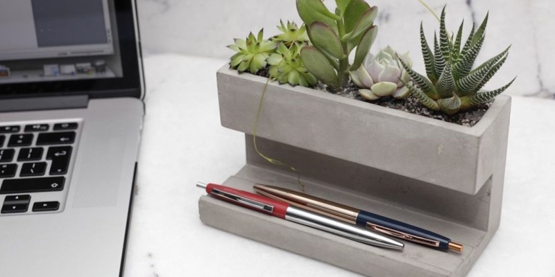 Kikkerland Concrete Desktop Planter - 11 Office gadgets that will improve your 9-5 job