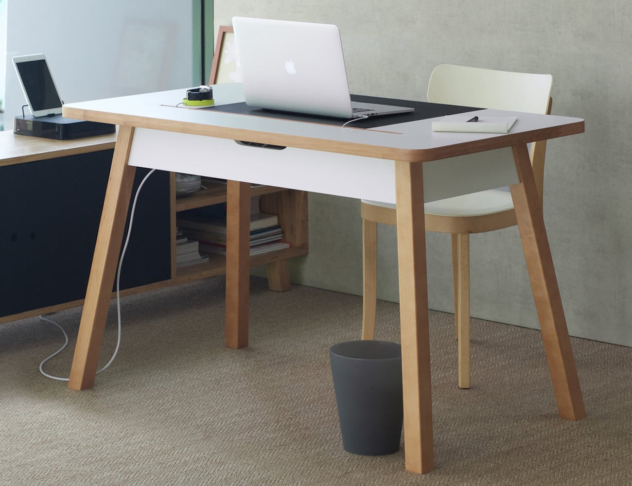 Bluelounge StudioDesk Advanced Office Desk keeps your workspace tidy