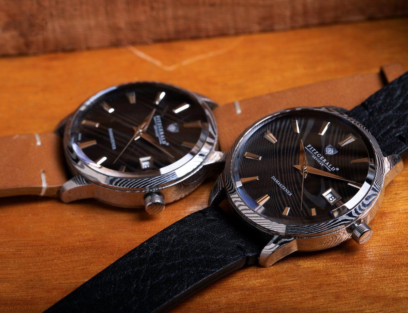 FITZGERALD Automatic Damascus Steel Watch boasts a unique design