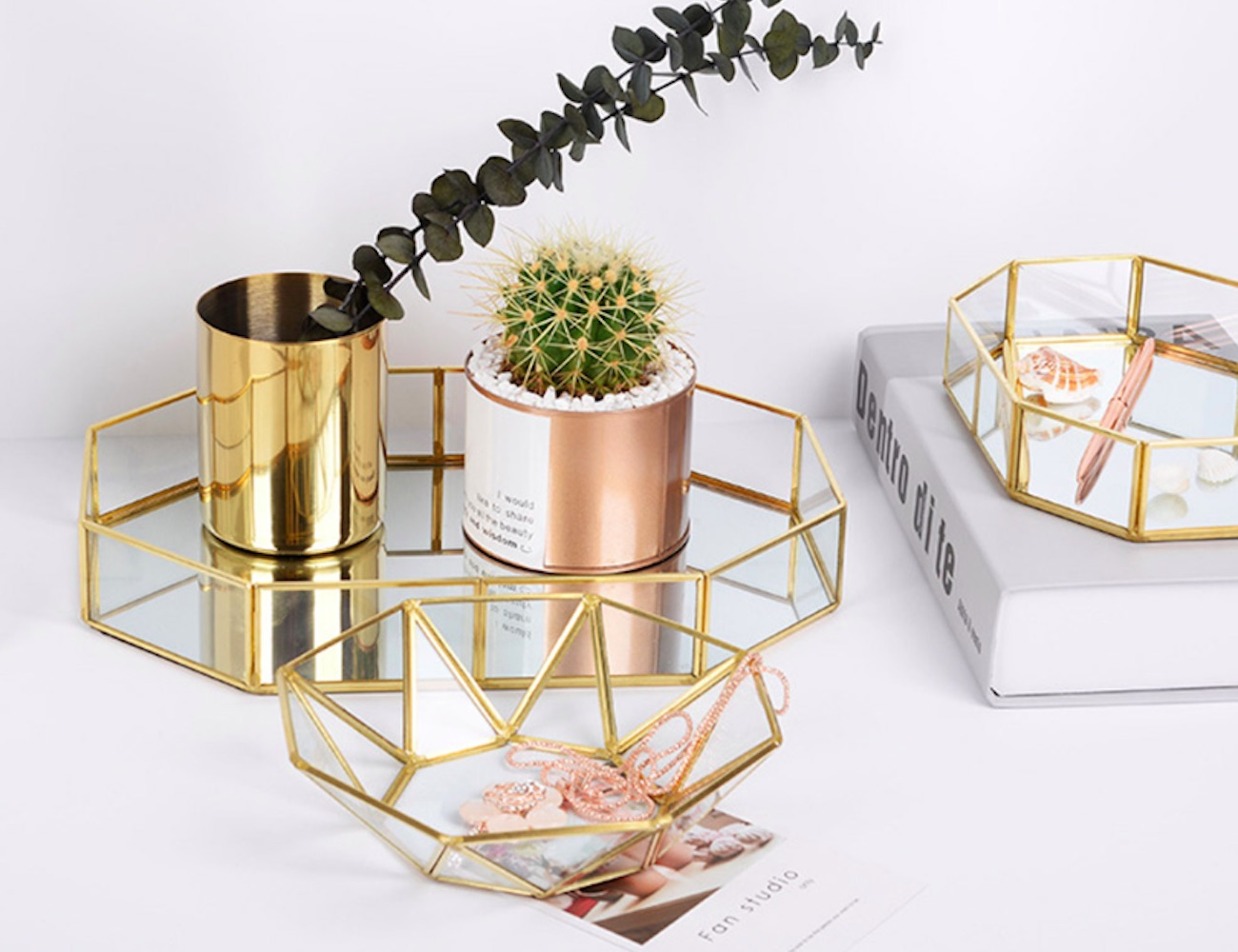 Geometric Copper Glass Valet Tray combine elegance and practicality