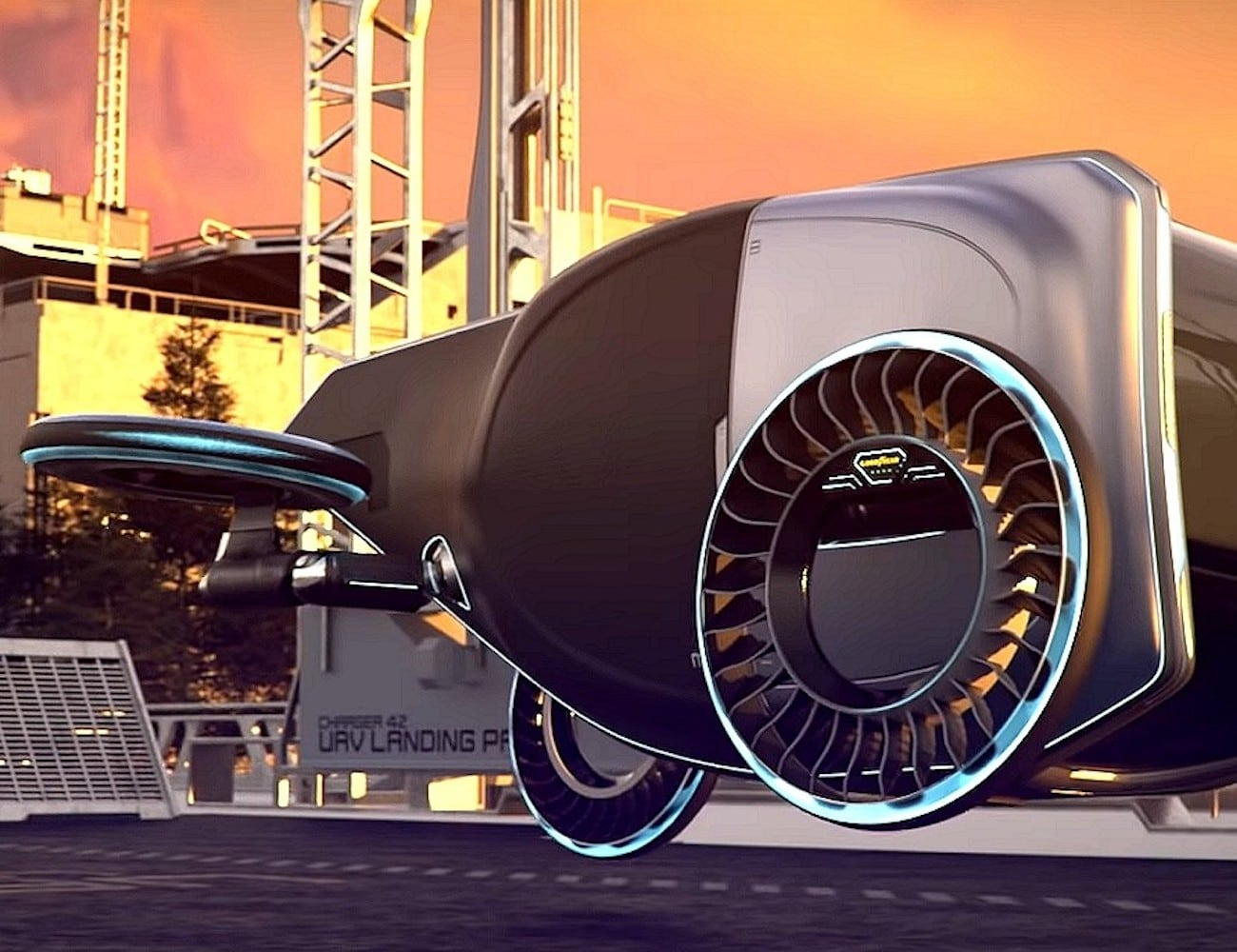 Goodyear AERO Flying Car Concept Tire works on the road and in the sky
