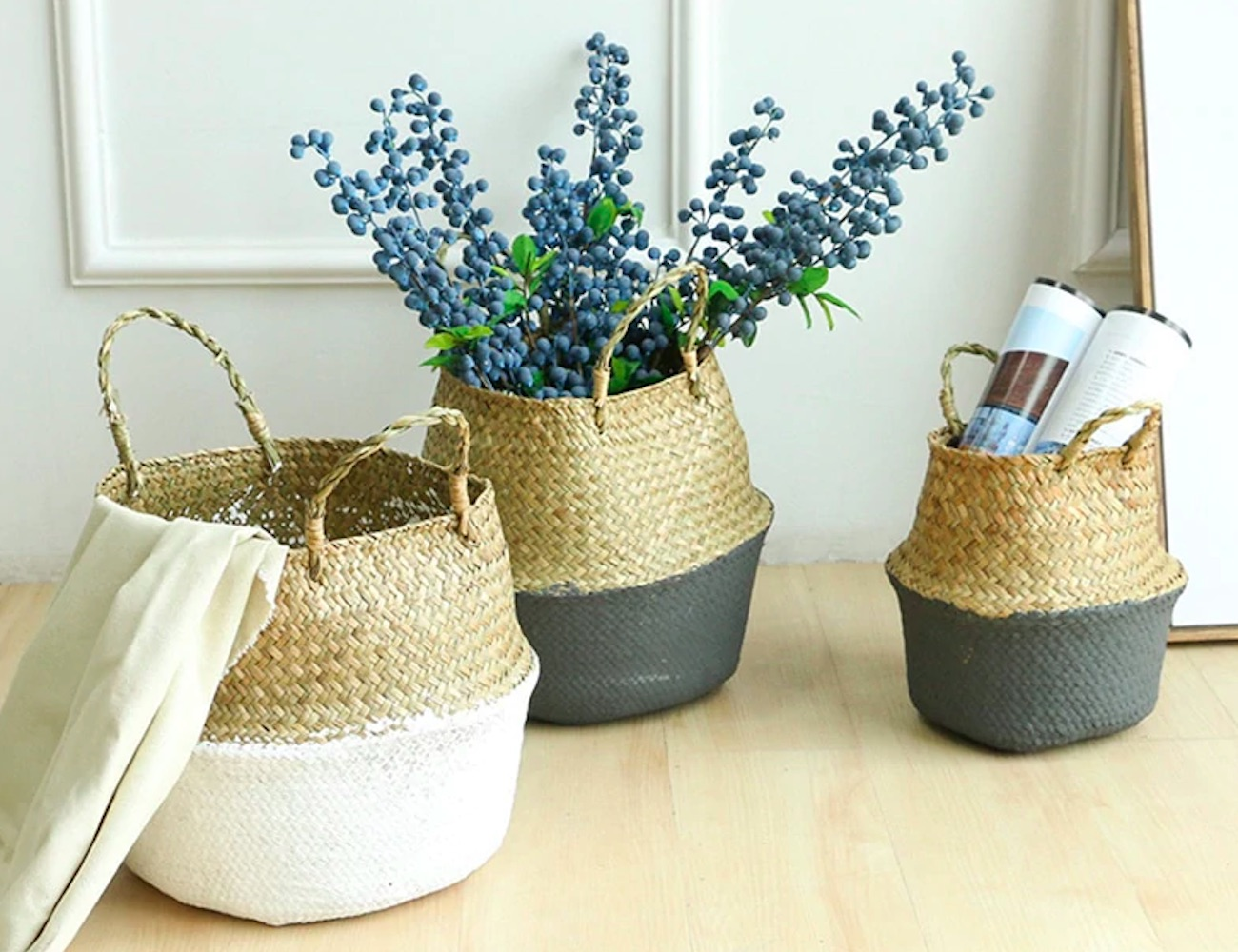 Handmade Seagrass Wicker Storage Baskets come with a pop of color