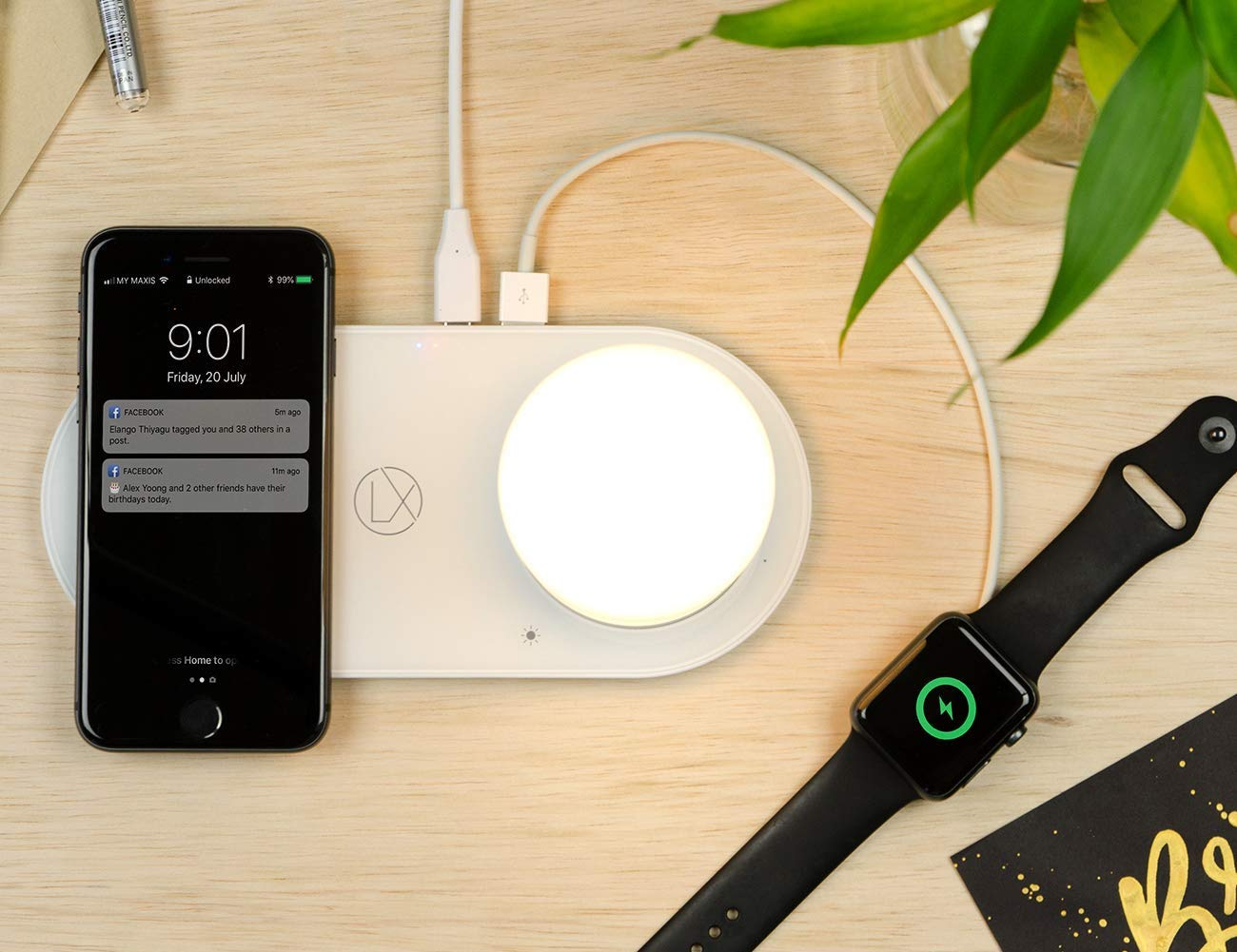LXORY Wireless Charging Lamp provides power and light