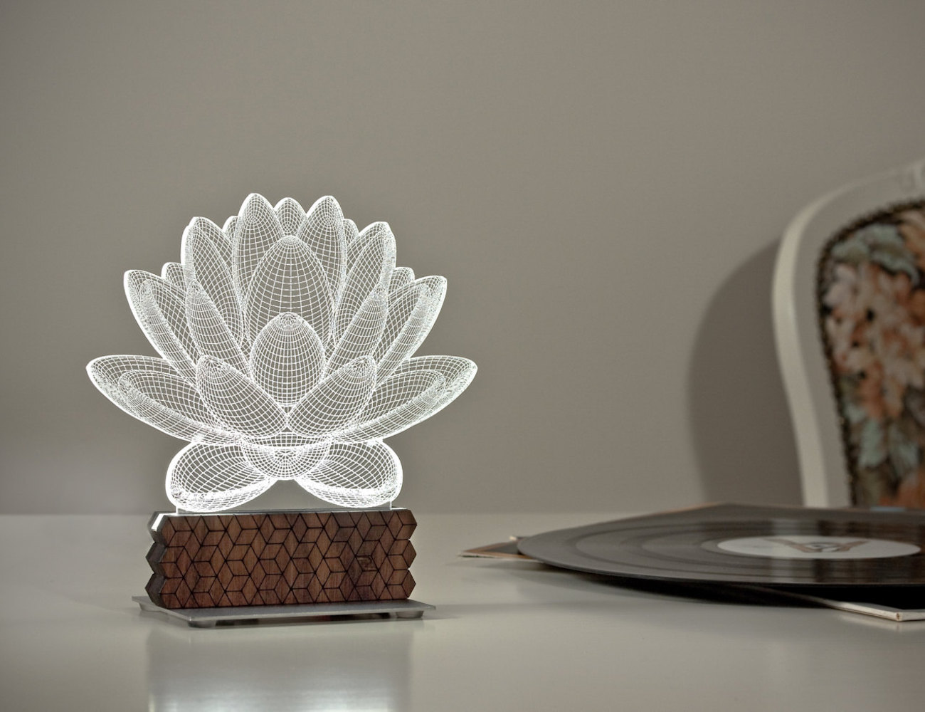 Lotus 3D Illusion Table Lamp looks like an illusion