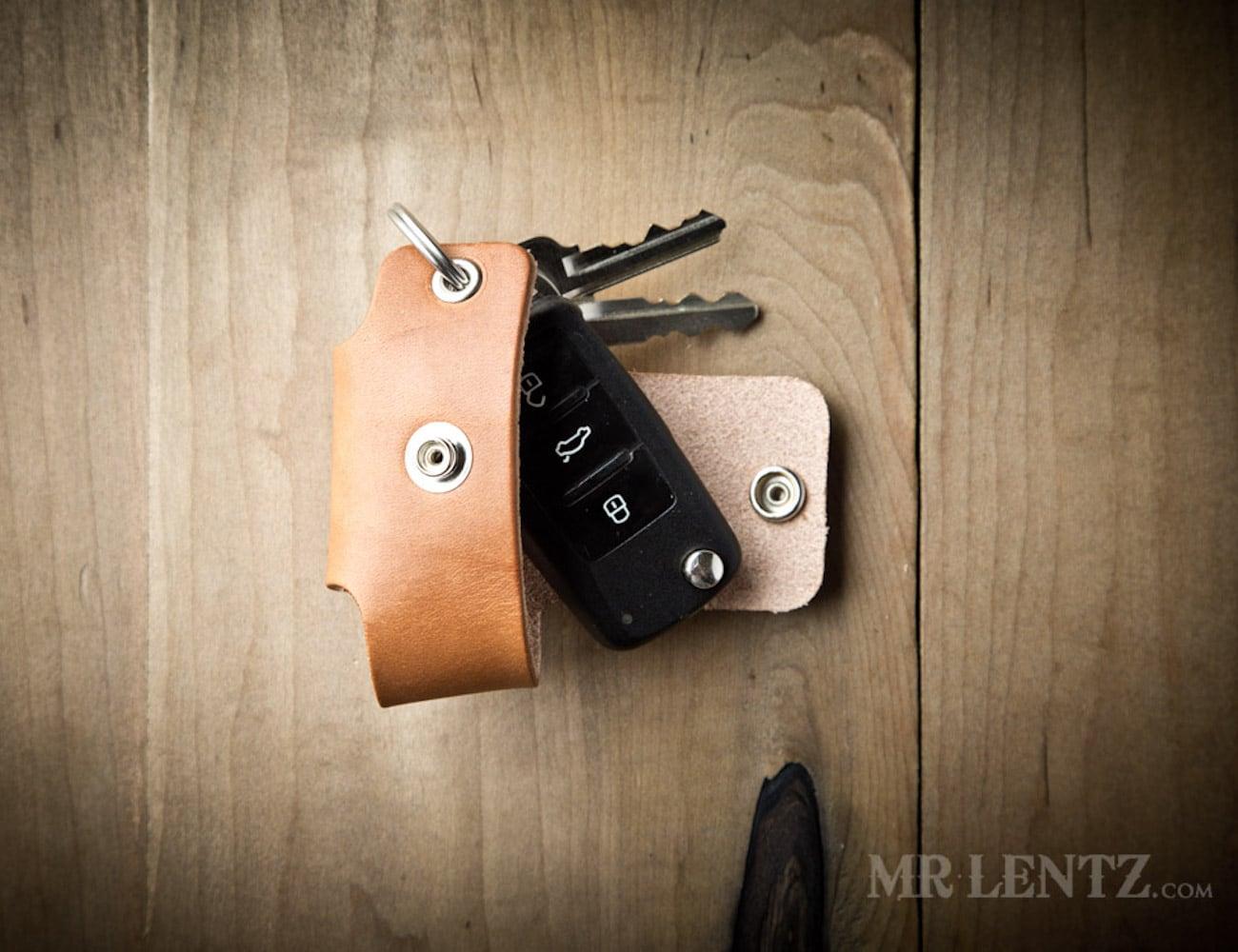 Mr. Lentz Leather Key Holder Pocket reduces key noise