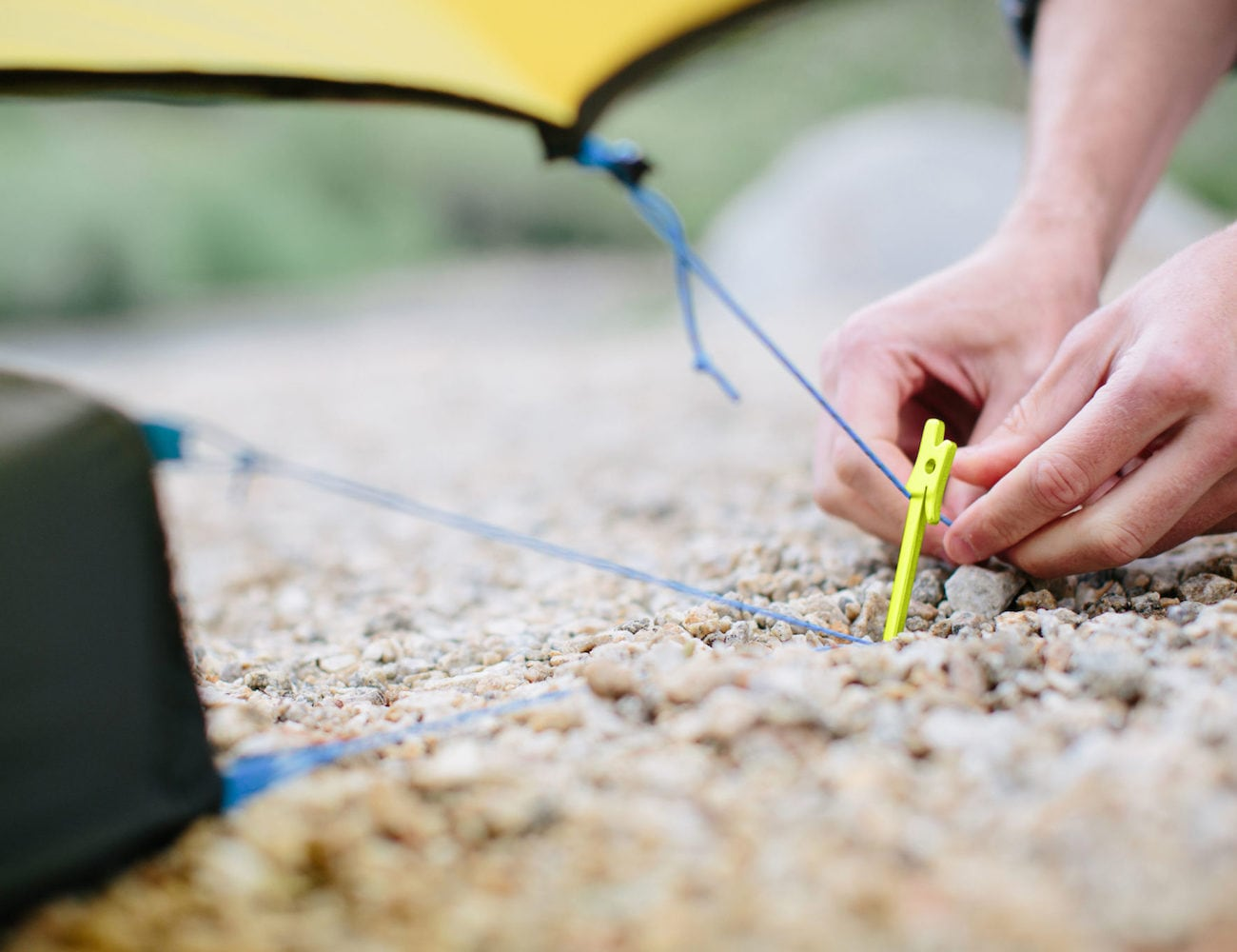 NEMO Airpin Ultralight Tent Stake keeps tent cords tight
