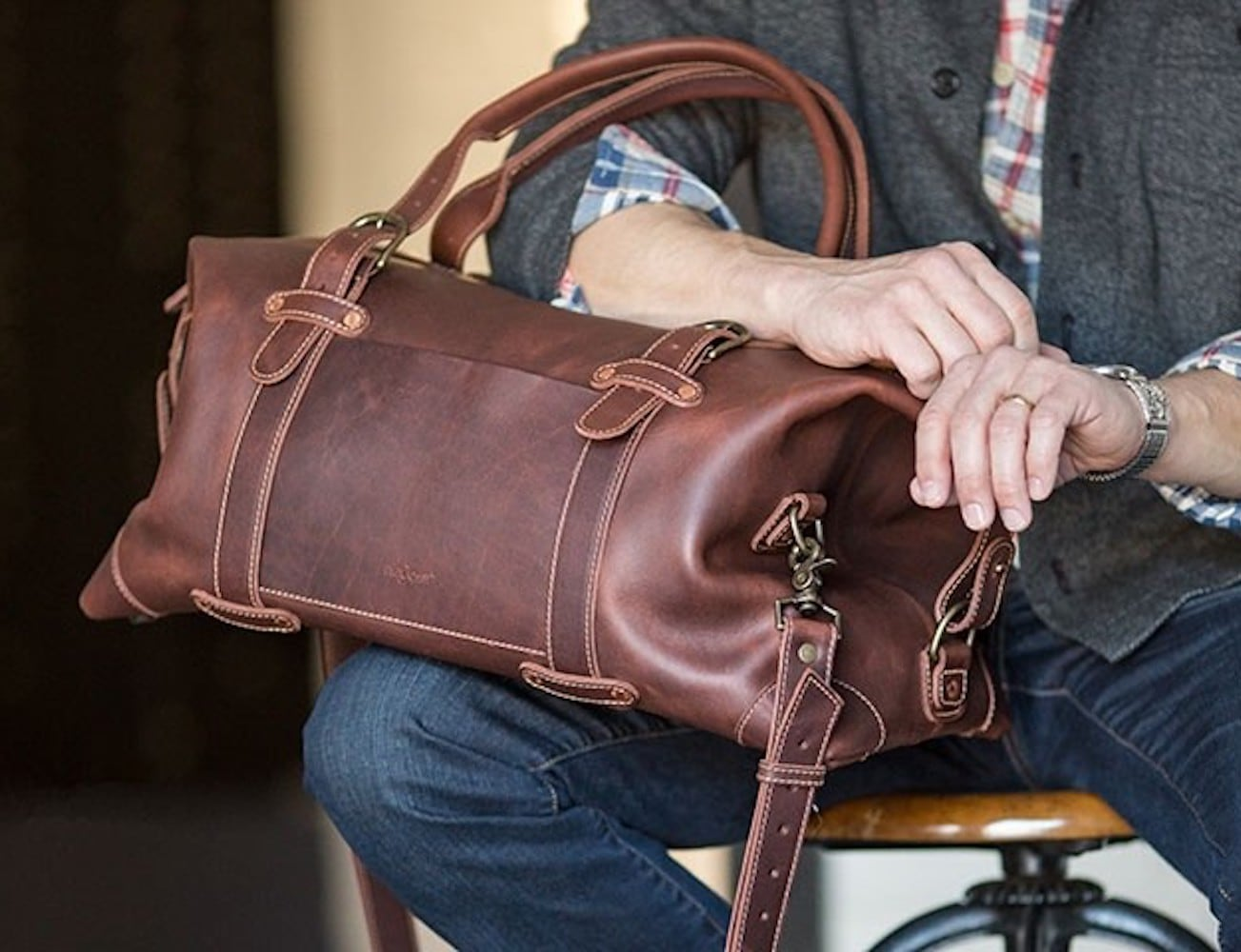 Pad & Quill Heritage Leather Duffle Weekender Bag offers lots of space for your stuff