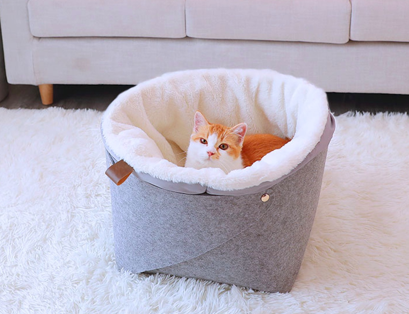 Plush Basket Cat Bed gives your cat the coziest place to rest