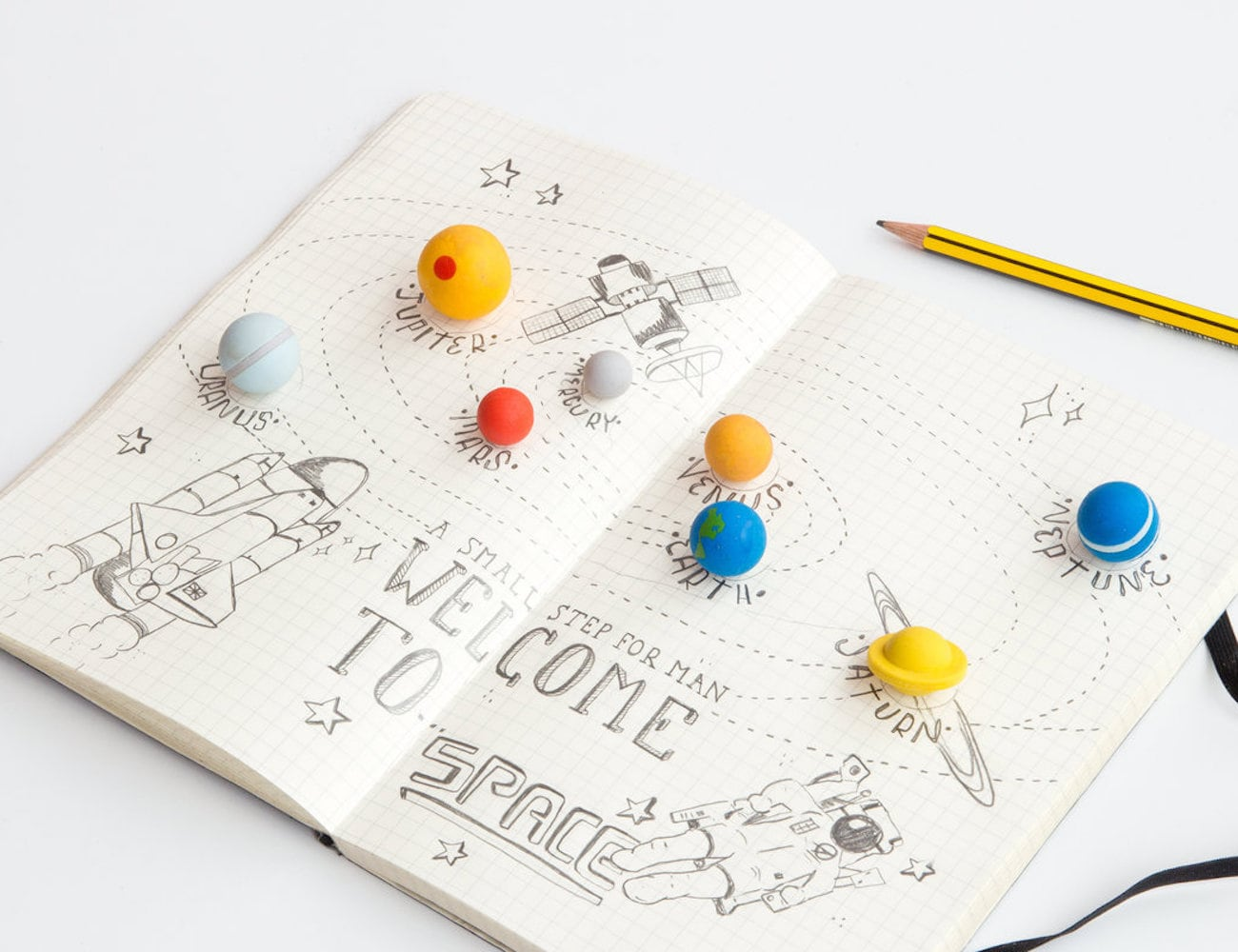 SUCK UK Rubber Solar System Erasers corrects your mistakes with planets